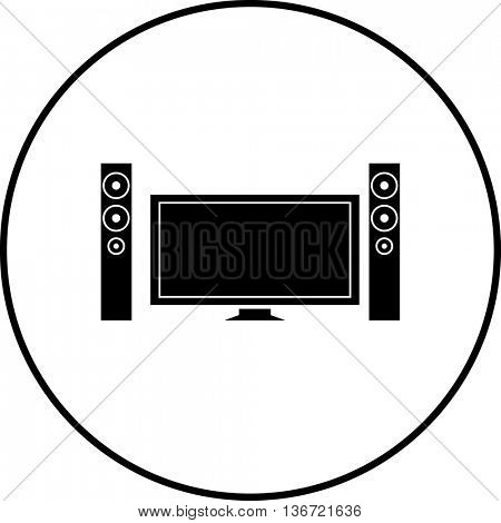 television with speakers symbol