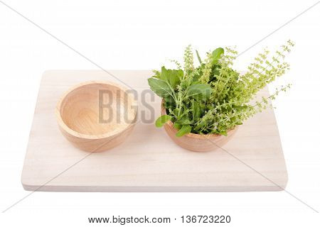 Part Of Holy Basil Pile In Bowl