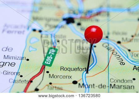 Roquefort pinned on a map of France