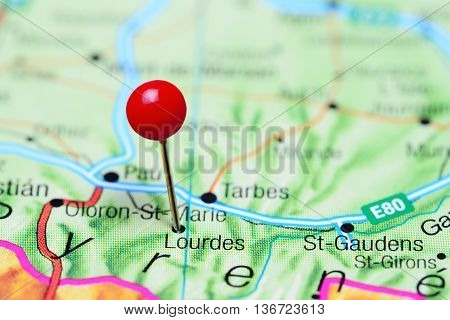Lourdes pinned on a map of France