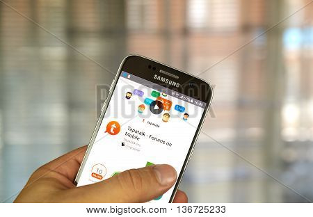 MONTREAL CANADA - JUNE 24 2016 : Tapatalk android application on Samsung S7 screen. Tapatalk is an application to allow access to Internet forums on mobile devices developed by Tapatalk Inc.