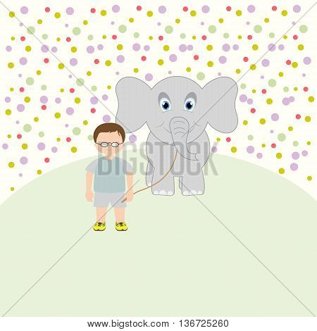 The little boy and the elephant. Happy baby. Vector art-illustration