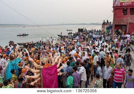 Worship Of The Hindu Goddess Durga In Varanasi, India