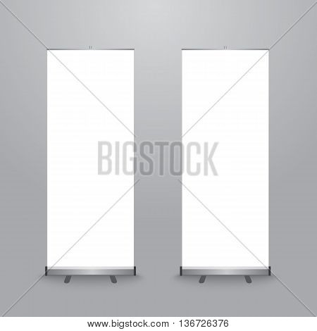Set of blank X-stand banners display template isolated on gray background. Vector illustration. Mockup for design