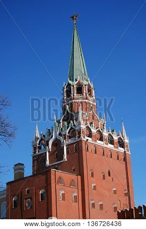View of the Moscow Kremlin a popular touristic landmark. UNESCO World Heritage Site.