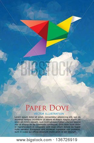vector illustration with paper dove on paper sky, low poly