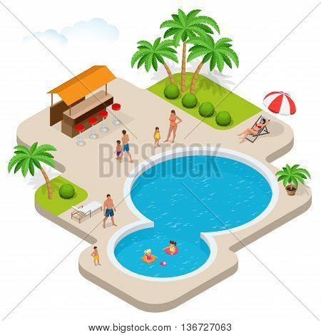 Summer fun at aqua park. Child with parents on water slide at aquapark. Summer holiday. Flat 3d vector isometric illustration