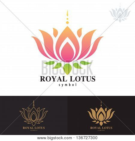Royal lotus symbol icon design. Vector illustration Logo template design with business card