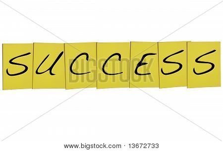 Success Word In Yellow Notes On White Background