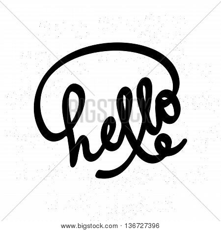 Hello lettering. Can use for greeting card poster t-shit etc. Lettering element for design. Hello on white background. Vector illustration.