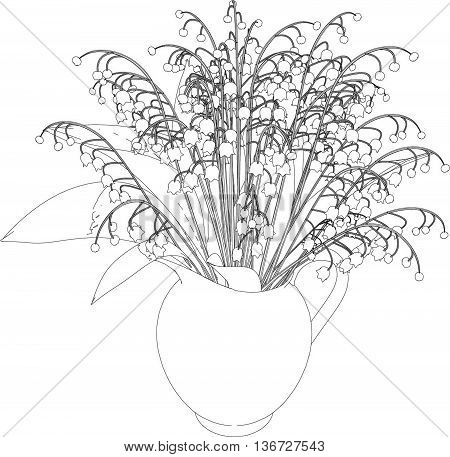 3D illustration of a lily-of-the-valley, isolated on white background