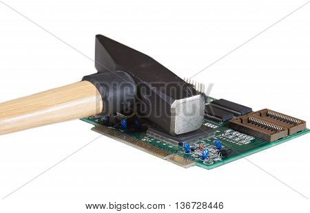Circuit board of computer components and hammer