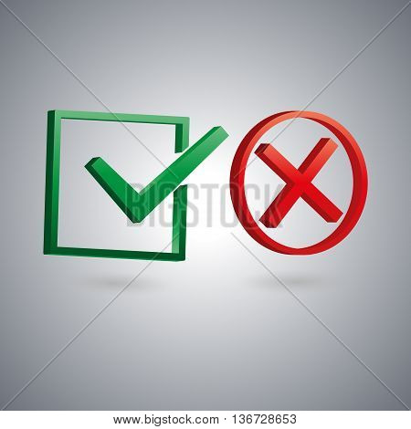 Set of two isolated check marks with 3D effect the sign performed tested rejected positive and negative response vector illustration.