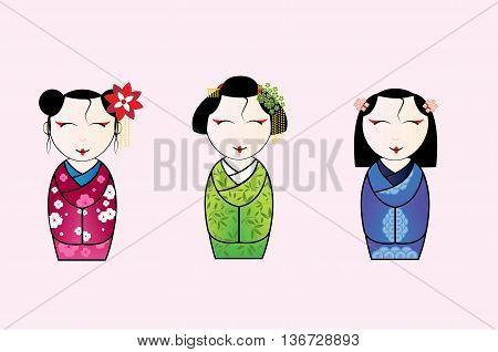 Vector illustration of cute japanese geisha set