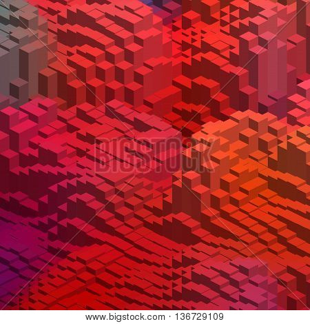 Abstract Colorful Vector Cube. Vector Illustration. Red, Orange Colors.