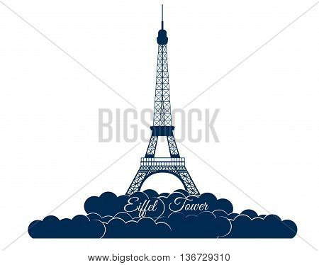 Eiffel tower isolated on white background. Eiffel Tower in the clouds. Sights of Paris and France.