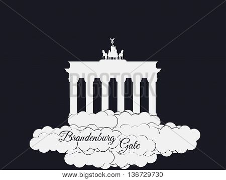 Brandenburger Gate Isolated On Black Background. Brandenburger Tor In The Clouds. The Symbol Of Berl