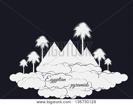 Egyptian Pyramids Isolated On Black Background. Egyptian Pyramids In The Clouds. The Symbol Of Egypt