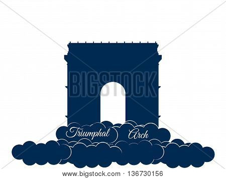 Triumphal Arch Isolated On White Background. Triumphal Arch In The Clouds. Sights Of Paris And Franc