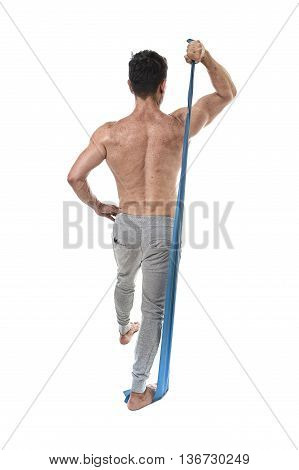 40s mature athletic sport man with bodybuilder strong and fit body training doing exercises with elastic rubber band in gym workout and fitness concept isolated on white background