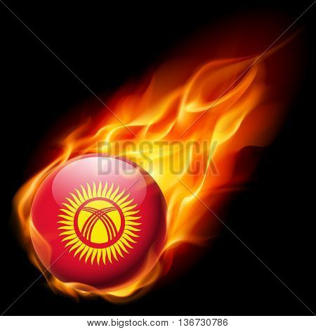 Flag of Kyrgyzstan as round glossy icon burning in flame