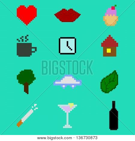Pixel icon set. Vector illustration. Colorful pixel icon