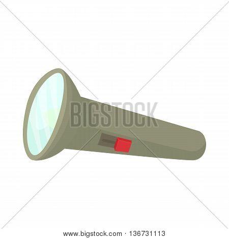 Flashlight icon in cartoon style isolated on white background. Hunting equipment symbol