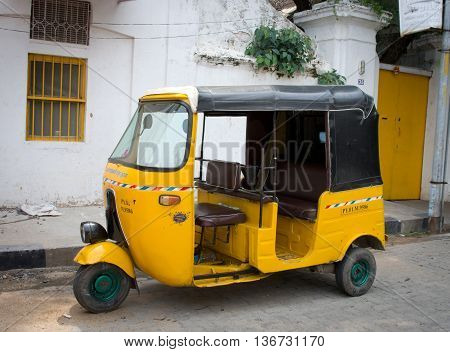 Auto Rickshaw On The Street  In Pondicherry,  India