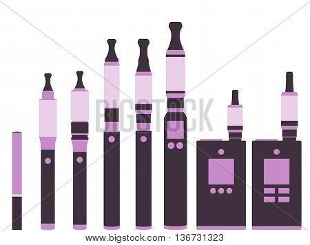 Electronic cigarette. Isolated on white background. Types vaporizers. Set.