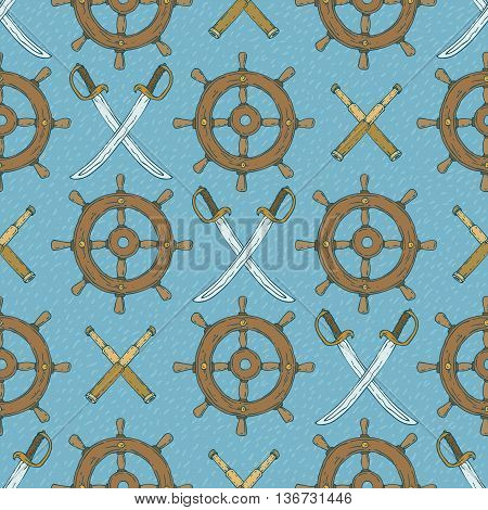 Pirate Seamless Vector Pattern Retro Ship Steering WheelsSabers and Spyglasses on a Blue Background