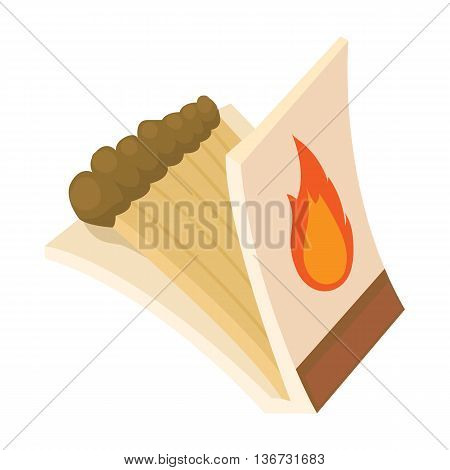 Box of matches icon in cartoon style isolated on white background. Ignition symbol
