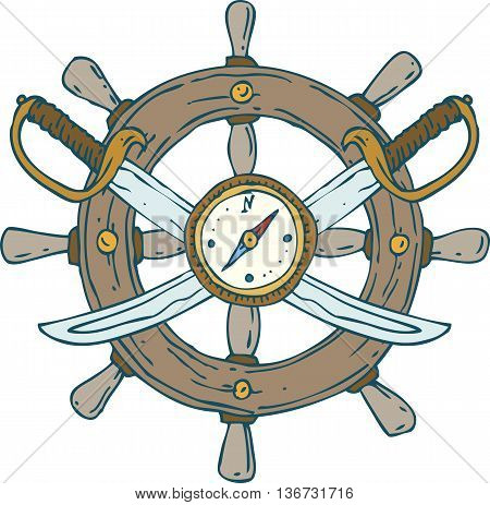 Composition with Retro Ship Steering Wheel Sabers and Compass. Isolated On A White Background