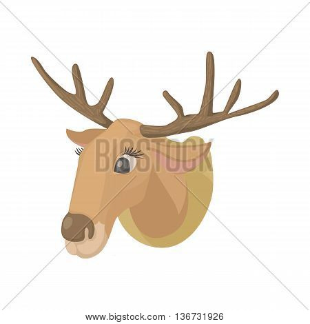 Deer head icon in cartoon style isolated on white background. Hunting equipment symbol
