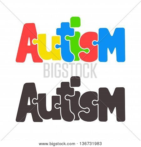 Hand drawn Autism lettering in cartoon style with jigsaw puzzle motif.