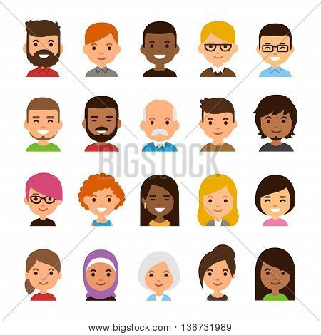 Diverse avatar set isolated on white background. Different skin and hair color happy expressions. Cute and simple flat cartoon style.