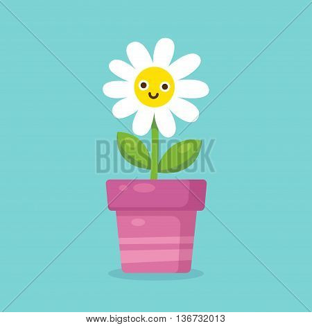 Cute cartoon happy flower in pot. Adorable smiling daisy flower in simple modern flat style. Vector illustration.