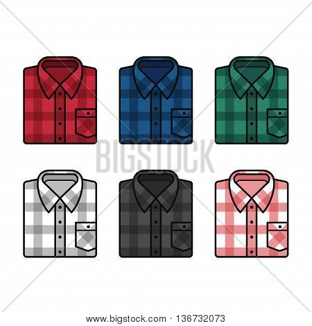 Plaid pattern flannel shirts set mens fashion illustration. Vector line icons of folded shirts in different colors.