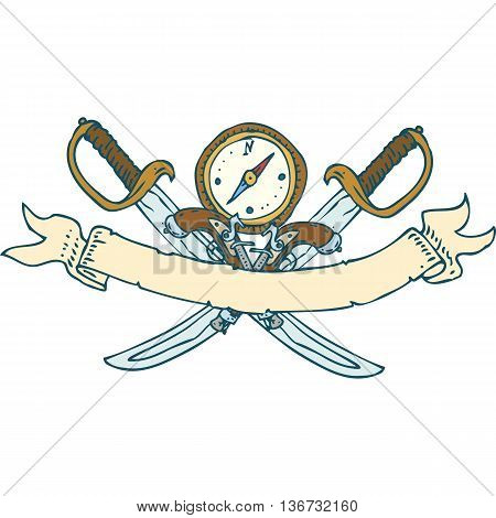 Retro Heraldic Ribbon with Sabers and Compass. Isolated on a White Background
