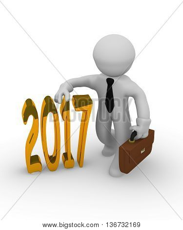 Small businessman with a golden 2017 3d rendering