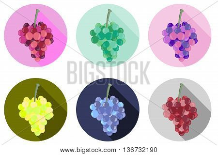 Grapes Icon. Icons Isolated On White Background. Bunches Of Grapes. Vector Illustration.