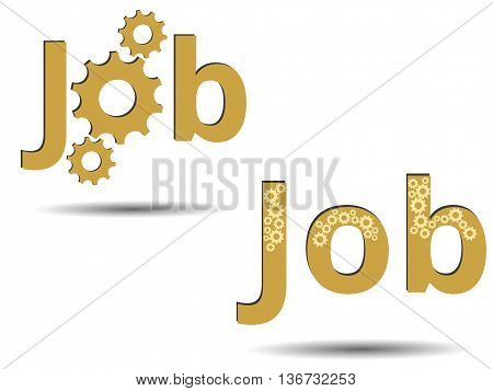 Job. Job Search. Banner Ads, Job Search. The Text On A White Background. Vacancy. Gears.