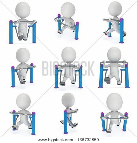 Active 3D man exercising on outdoor fitnes trainer machine. Fit sporty man set working out at outdoor gym. Sport fitness and healthy lifestyle concept. 3D render isolated on white.
