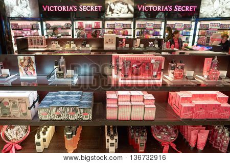 NEW YORK - APRIL 06, 2016: inside of Victoria's Secret store. Victoria's Secret is an American designer, manufacturer and marketer of women's premium lingerie, womenswear and beauty products.
