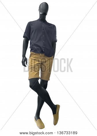 Male mannequin in summer clothes isolated on white background. No brand names or copyright objects.