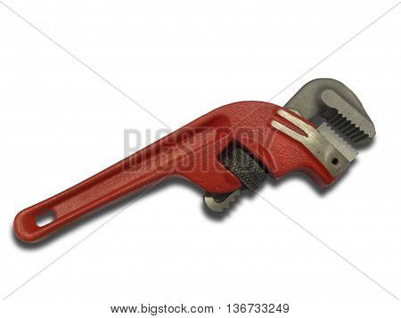 Red pipe wrench isolated on white background