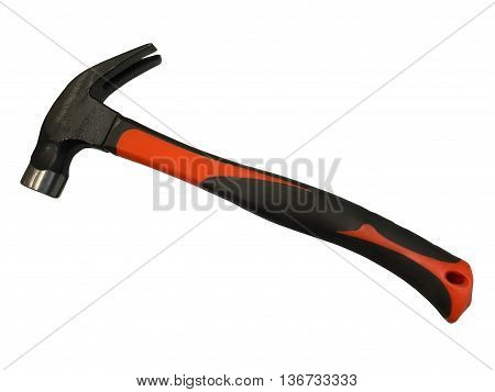 Claw hammer with orange and black handle isolated on white background