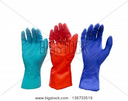Three colorful latex gloves isolated on white background