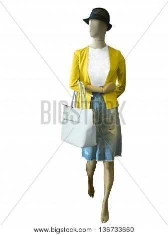 Full length female mannequin dressed in casual clothes isolated on white. No brand names or copyright objects.