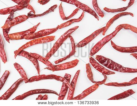 closeup dry red chilli dry red chillie dry red chili dry red pepper isolated on white background