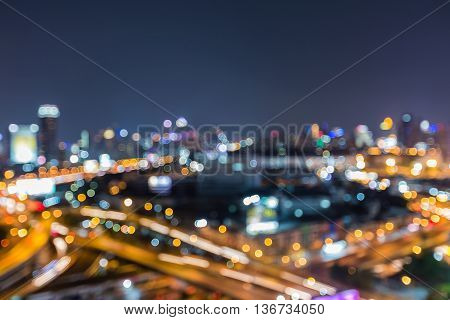 Aerial view blurred lights urban city downtown night view